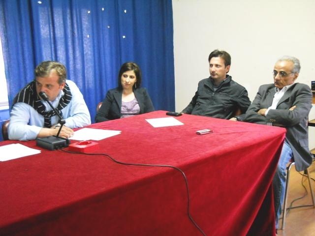 """Il gruppo di opposizione """"L'aquilone"""". Da sx Migliarese, Venuto, Lucia e Voci"""