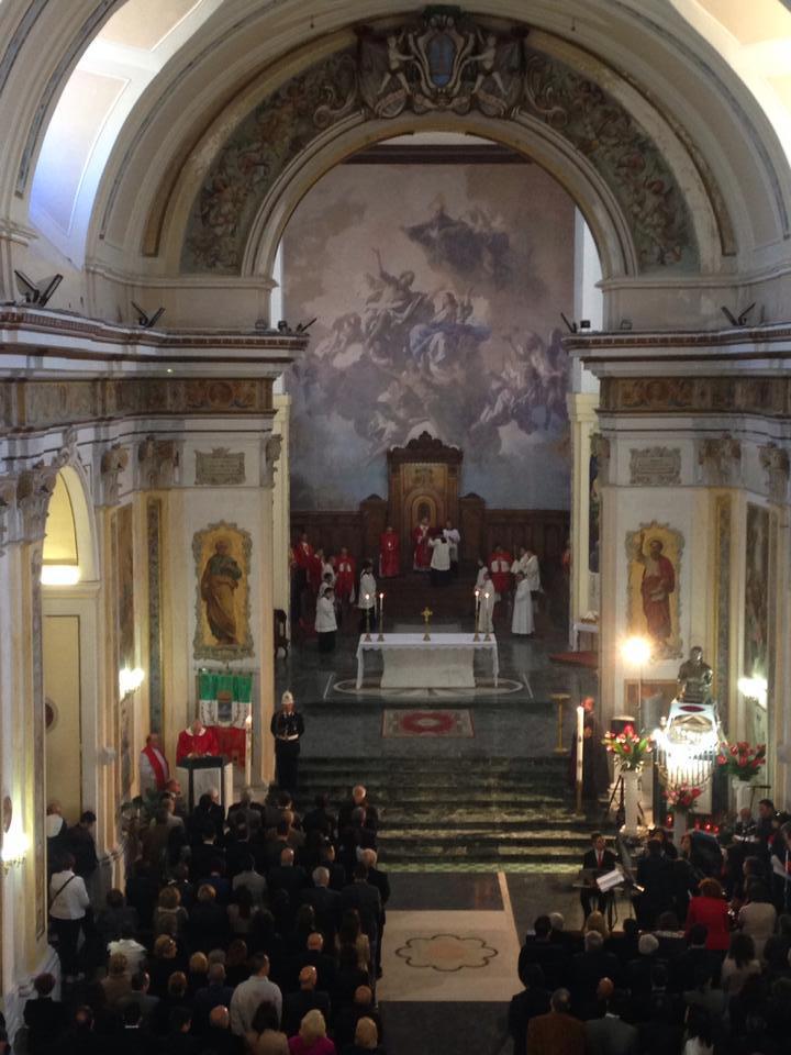 Un momento della messa solenne celebrata stamattina in cattedrale in onore di Sant'Agazio