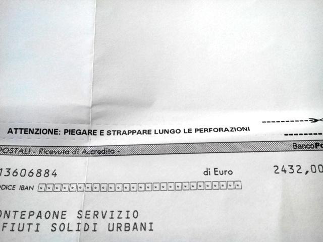 """Il bollettino recante la """"modica"""" cifra di 2400 euro"""