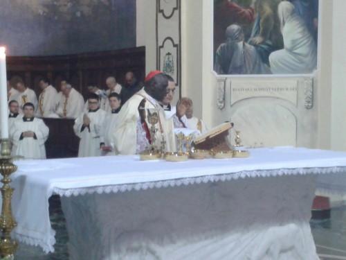 Il cardinale Sarah durante la celebrazione della messa